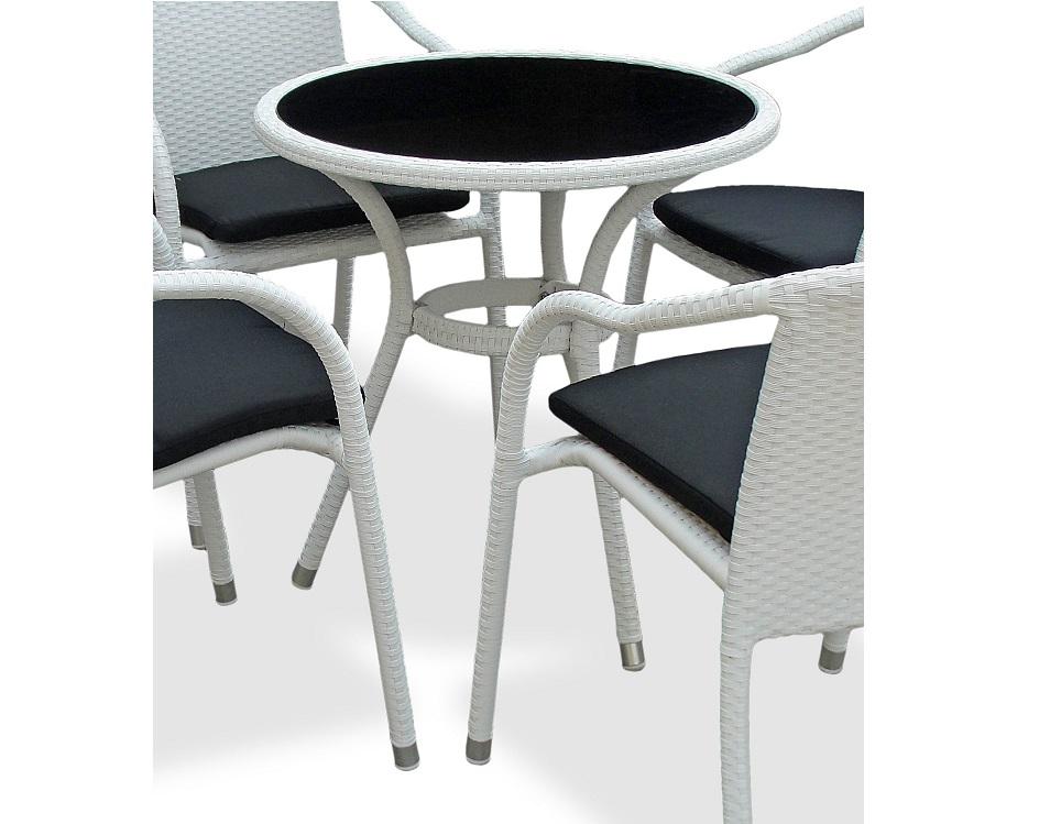 """Фото-Плетеный стол """"Lotus"""", цвет белый"""