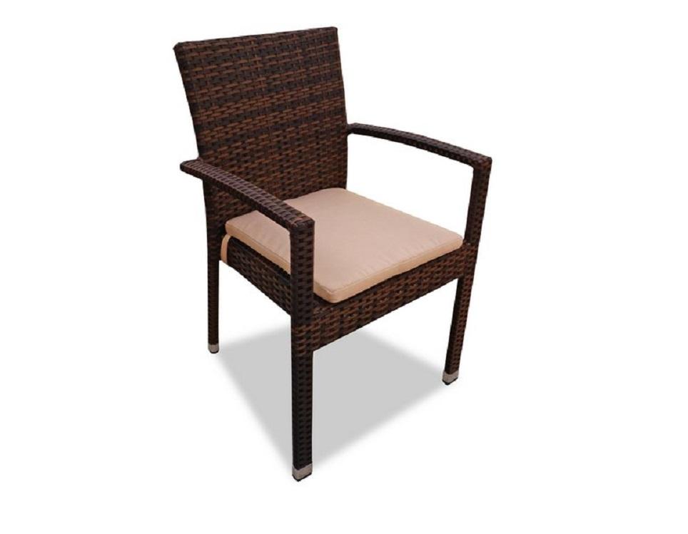 """Фото-Плетеный стул """"Milano brown"""" с подлокотниками"""