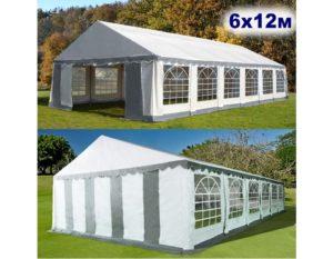 """Шатер-павильон садовый 6×12 """"AFM-15612B"""", бело-серый"""