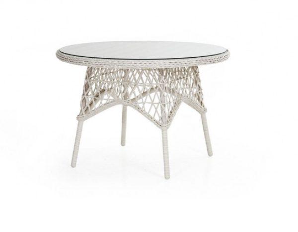 Плетеный стол «Beatrice white» диаметр 110 см