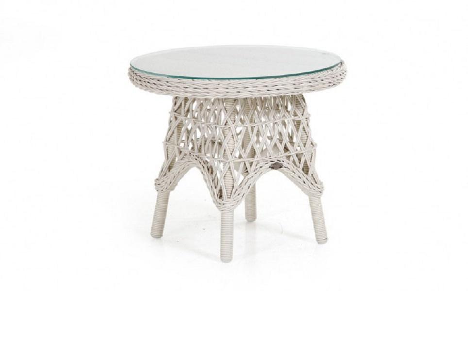 Плетеный стол «Beatrice white» диаметр 60 см