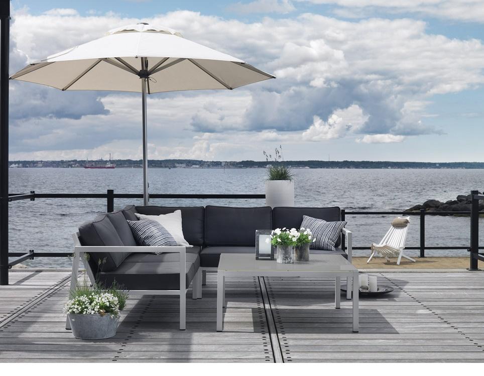 """Комплект мебели из алюминия """"Belfort"""" с угловым диваном"""