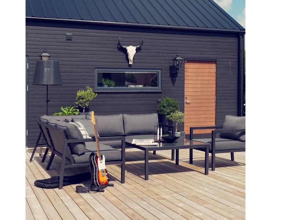 """Комплект мебели """"Belfort"""" с угловым диваном, цвет черный"""