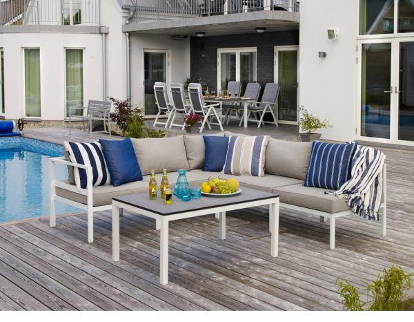 """Фото-Садовая мебель """"Leone"""" с угловым диваном, цвет белый/серый"""