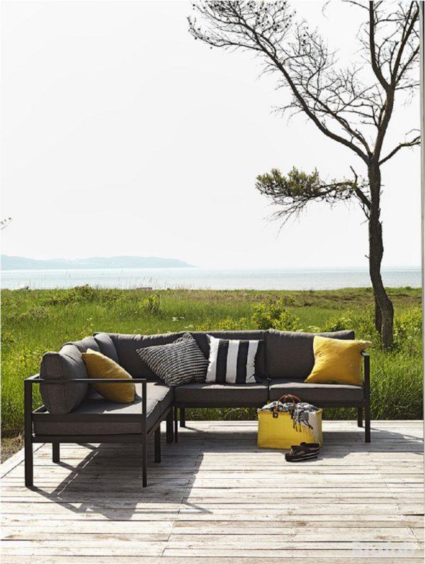"""Комплект мебели """"Leone"""" с угловым диваном, цвет черный/серый"""