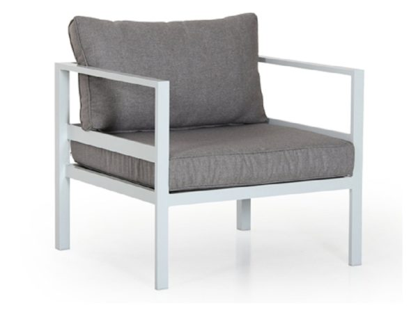 Фото-Кресло садовое Leone белый/серый Brafab