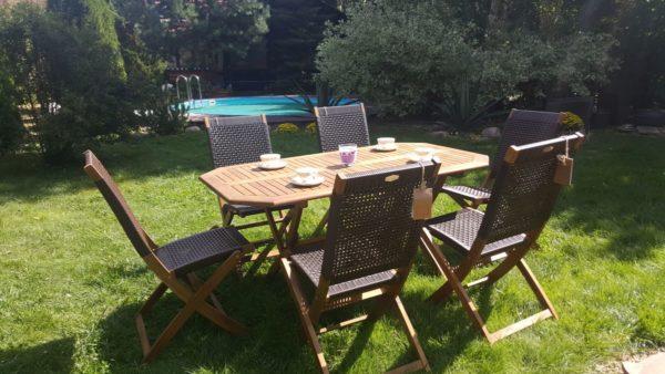 Плетеная мебель деревянная «Ever ton brown» — садовая обеденная группа мебели.
