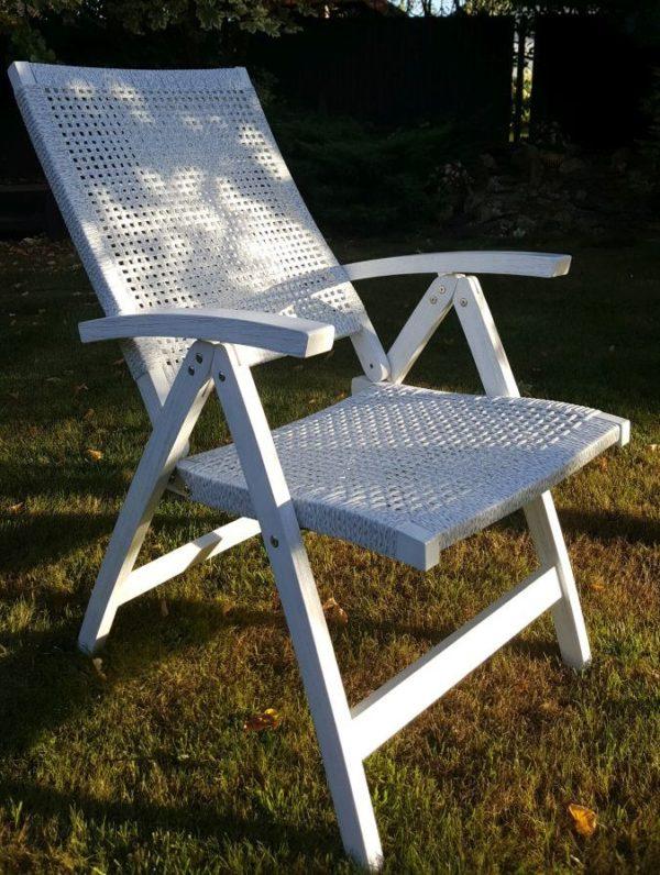Раскладное кресло из акации и искусственного ротанга «Dream» white.