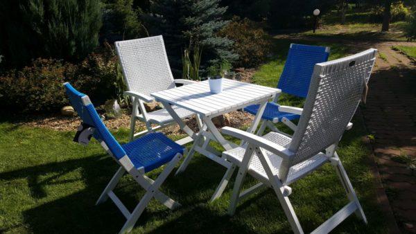 Садовая мебель из акации и искусственного ротанга «Arizona Dream» white blue mix.