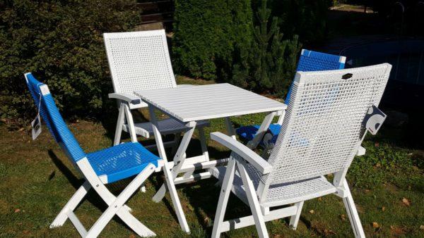 адовая мебель из акации и искусственного ротанга «Arizona Dream» white blue mix.