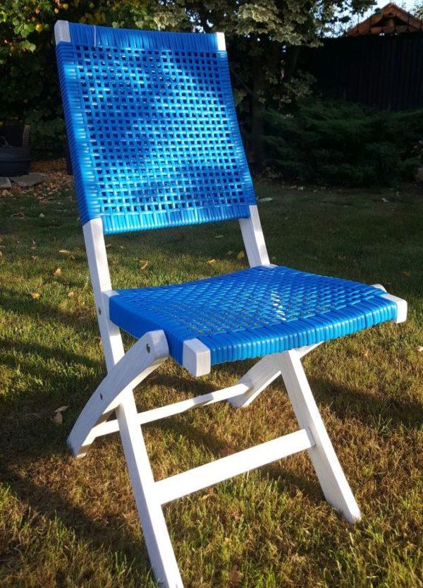 Складной обеденный стул из акации и искусственного ротанга «Dream» blue.