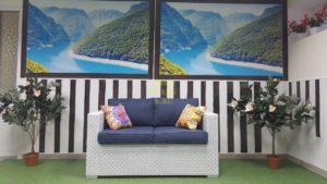 Плетеный диван «Louisiana» white & blue. Белая плетеная мебель.