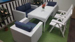 Плетеная мебель «Dream» white&blue. Обеденная группа