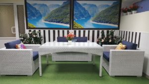 Плетеная мебель «Louisiana» 2 white&blue. SunLineDesign.