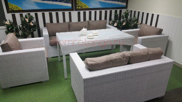 Плетеная мебель «Louisiana» dining white&beige. SunLineDesign