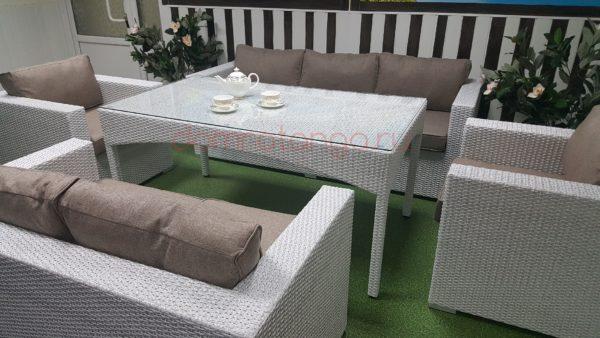 Садовая мебель «Louisiana» dining white&beige. SunLineDesign