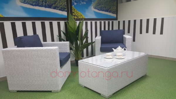 Плетеная мебель «Louisiana» white&blue cafe set