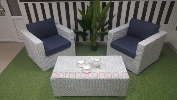 Плетеная мебель «Louisiana» white&blue cafe set. SunLineDesign