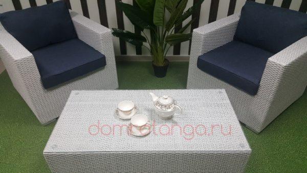 Уличная мебель из искусственного ротанга «Louisiana» white&blue cafe set