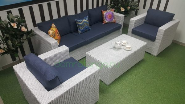 Плетеная мебель «Louisiana» white&blue. SunLineDesign