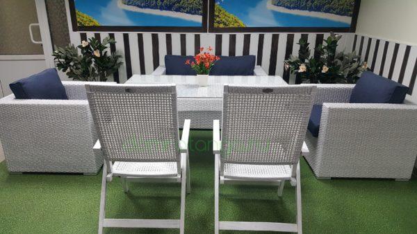Плетеная мебель «Dream» white&beigeПлетеная мебель «Dream» white&blue
