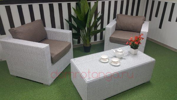 Плетеная мебель «Louisiana» cafe set white&beige