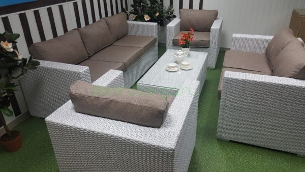 Плетеная мебель «Louisiana» patio set white&beige