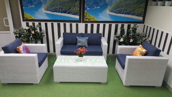SunLineDesign. Плетеная мебель «Louisiana» lounge white&blue