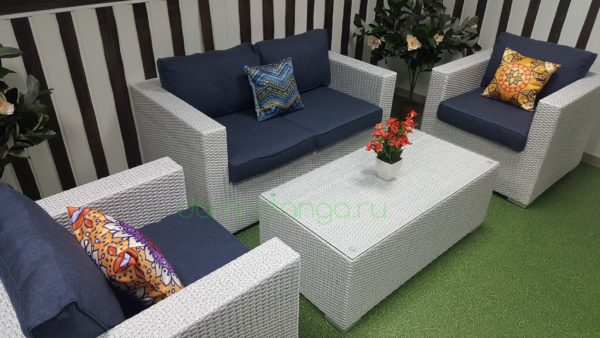 Плетеная мебель «Louisiana» lounge white&blue. SunLineDesign