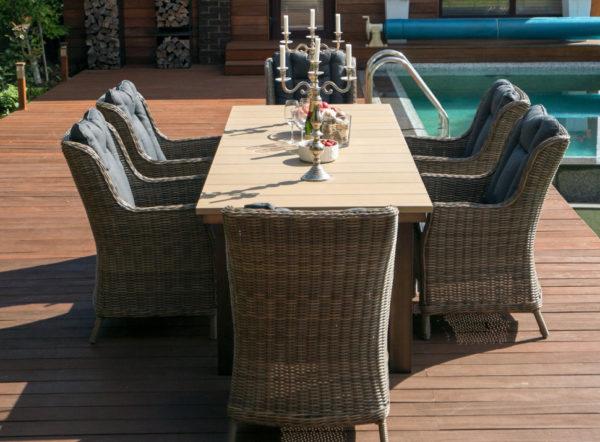 """Обеденный стол «Парклэнд» и плетеные кресла """"Бергамо"""""""