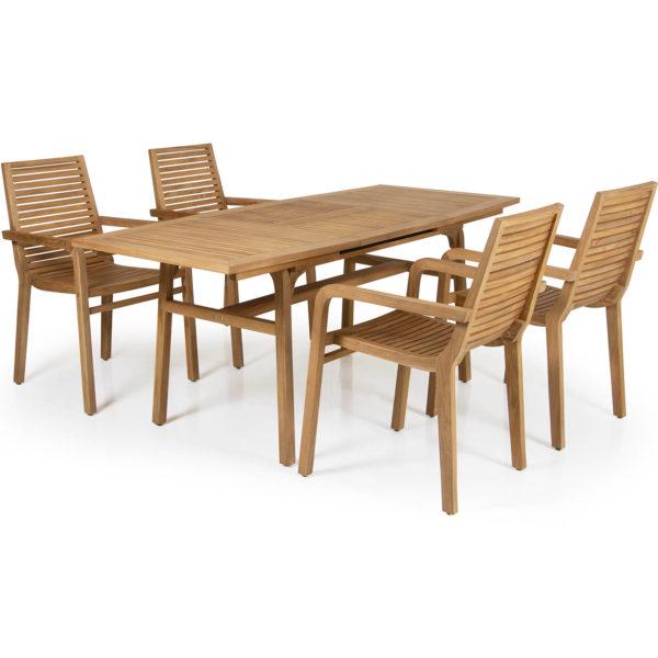 Раскладной обеденный стол Volos из массива тика производства фабрики Brafab, ШвецияРаскладной обеденный стол Volos из массива тика производства фабрики Brafab, Швеция