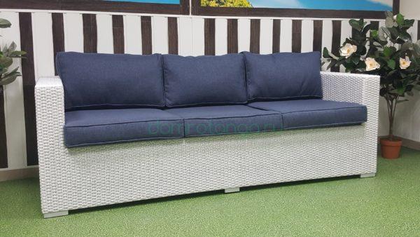 Плетеный диван «Louisiana» white&blue трехместный. SunLineDesign