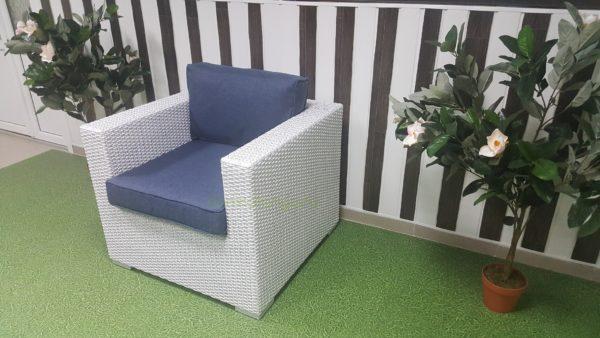 Плетеное кресло из искусственного ротанга «Louisiana» white blue. SunLineDesign