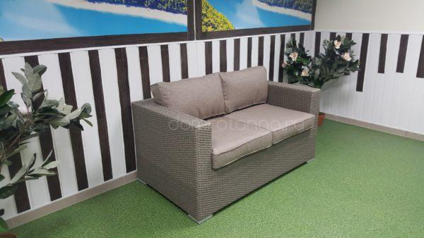 Двухместный плетеный диван «Louisiana» mocco. SunLineDesign
