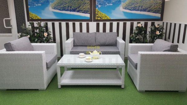 Фото-Комплект плетеной мебели Louisiana lounge white & grey