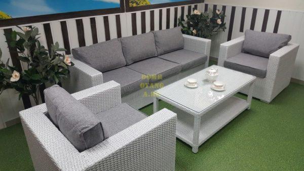 Фото-Комплект плетеной мебели Louisiana white & grey