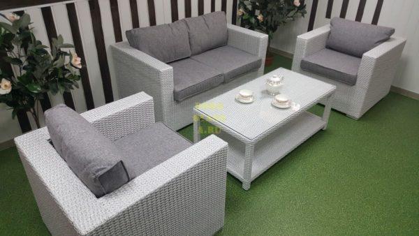 Фото-Плетеная мебель Louisiana lounge white & grey
