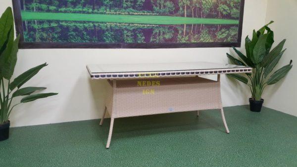 Фото-Aura beige 160 Стол плетеный ротанг искусственный