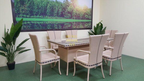 Фото-Aura beige 6 Плетеная мебель Стол 160см