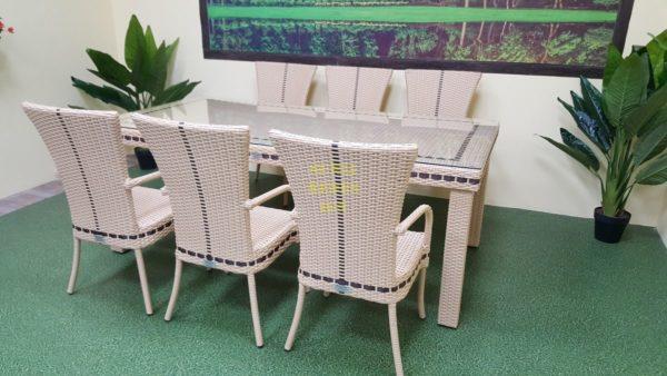 Фото-Aurora beige 6 Комплект плетеной мебели