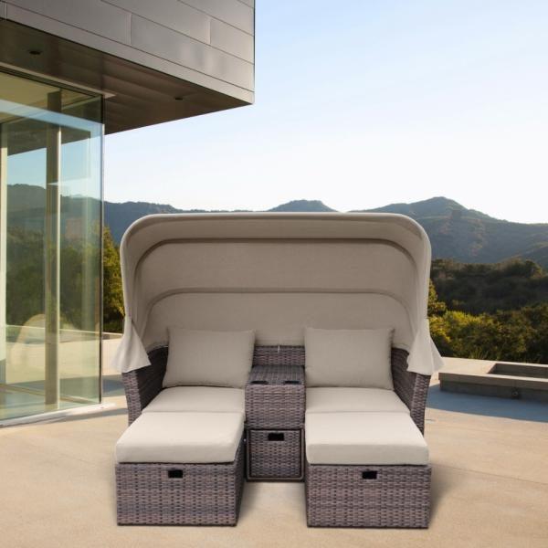Фото-OASIS brown Плетеная мебель лежак с тентом