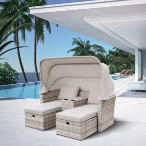 Фото-OASIS grey Плетеная мебель лежак с тентом