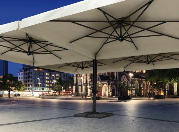 Зонт уличный профессиональный четырехкупольный Alu Poker Dark