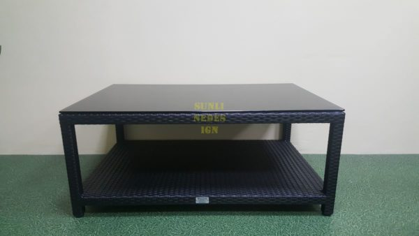 Mega black 120на80 Стол из искусственного ротанга журнальный