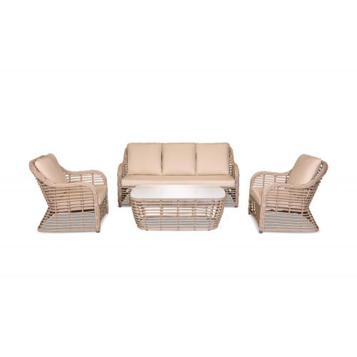 Bliss lounge set мебель из искусственного ротанга бежевый