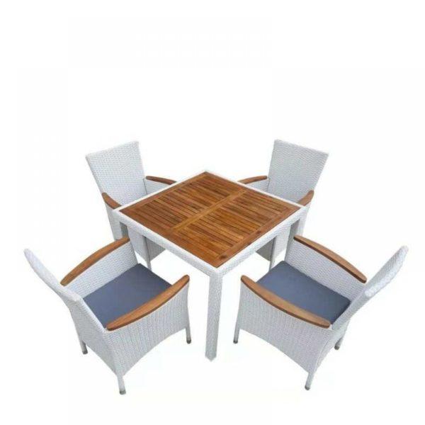 ELBA White 4 Плетеная мебель обеденная