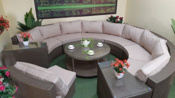 ELectra brown beige set 2 Круговая плетеная мебель